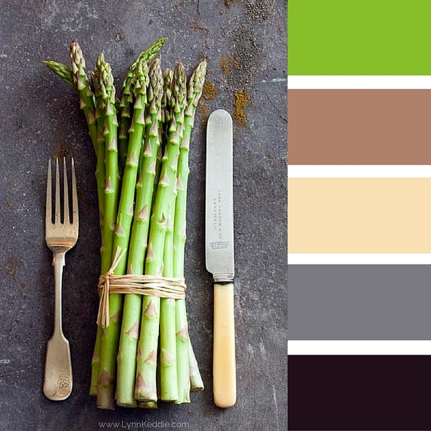 colour palette using asparagus, green, brown, cream grey and black
