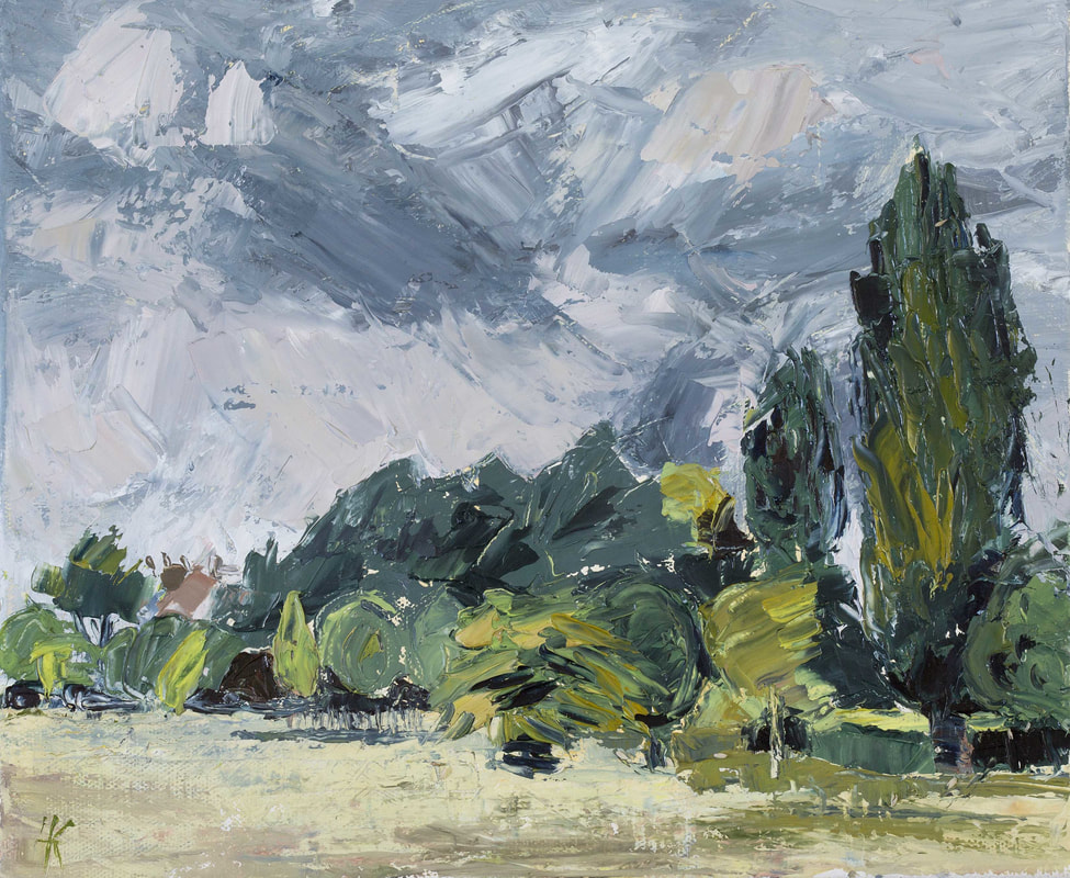 ​Watching the storm clouds gather, Brockwell Park, London ​ParkLife series Oil on canvas 25 x 30cm by Lynn Keddie British artist