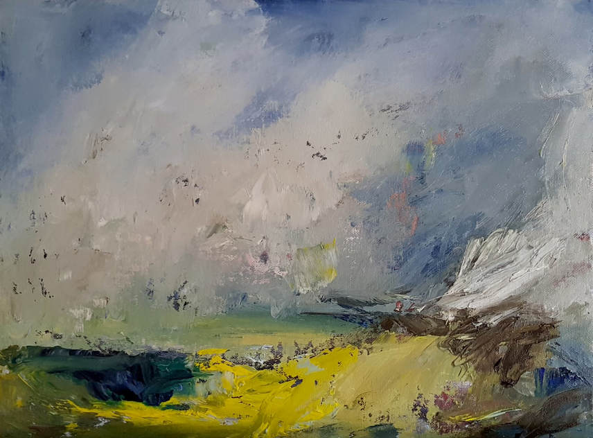 A storm in Summer an original oil painting by Lynn Keddie British artist