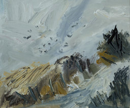 On the road to the top where the crows fly Oil on board ​25 x 30cm by British artist Lynn Keddie
