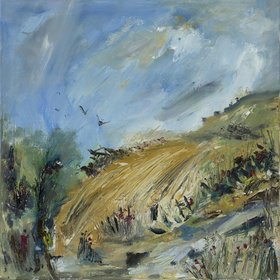 Walking up to the White Horse ​Oil on canvas ​30 x 30cm by British artist Lynn Keddie